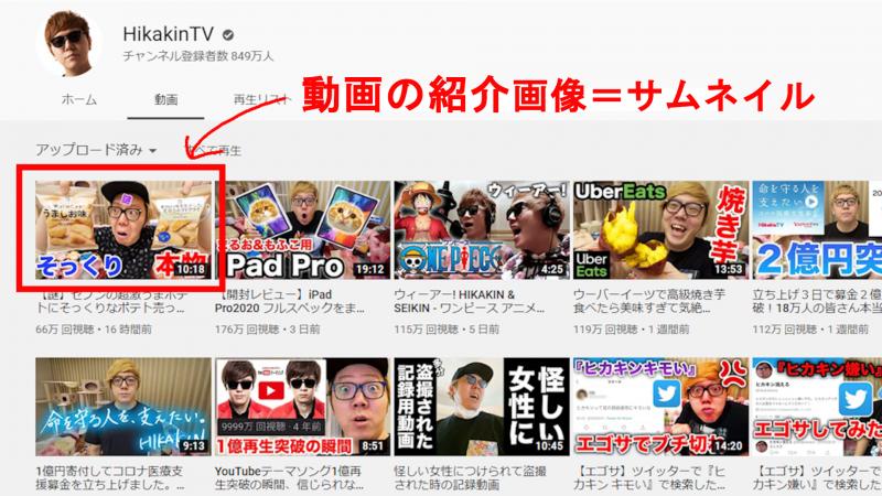 サムネイルとはYouTubeの動画を紹介する画像のこと。