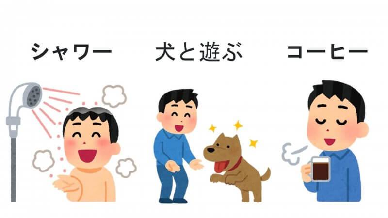 シャワーを浴びる、犬と遊ぶ、コーヒーを飲むという行動をする人。